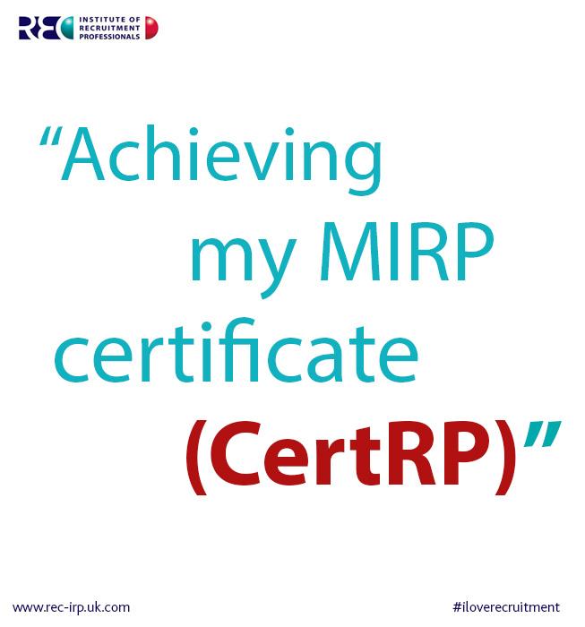 recruitment achievement receiving CertRP qualification